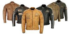 Motorradjacke Lederjacke mit Protektoren Herren Retro Motorrad Leder Jacke Neu