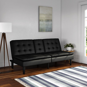 Memory Foam Faux Leather Futon Sofa with Cupholder (Black)