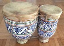 Alte afrikanische Bongos Bongotrommeln aus Keramik - Handgemacht