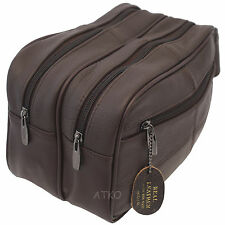 XL DELUXE HIDE LEATHER BROWN DOUBLE ZIPPED WASH HOLIDAY TRAVEL TOILETRY GYM BAG
