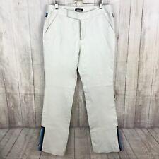 Vintage 90's Grunge Metro Style white Leather Bootcut Pants Blue Stripe Size 6
