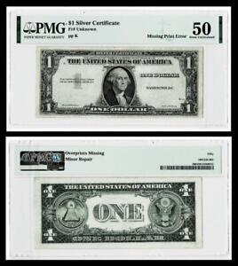 RARE { Missing Third Printing Error } $1  Silver Certificate ~ ~ PMG AU50