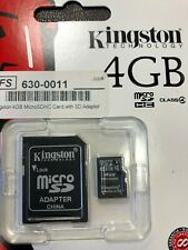 Lot of 5 Kingston's Memory Micro SD Card 4GB Class 4 with Adapter