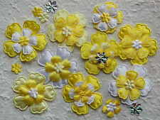 60 fabric FLOWERS FFE38Y Yellow White Embellishments:Hair Clips Scrapbooks Cards