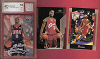 LEBRON JAMES GAME USED JERSEY & USA ROOKIE GRADED BECKETT BCCG 10 MINT+ & UD RC