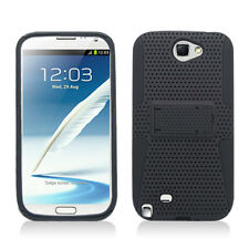 Samsung Galaxy Note II 2 MESH Kick Stand Hybrid Silicone Rubber Skin Case Black