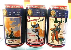 Collectable beer cans -  Set of 3 Toohey Blue  '' World War Vets '' beer cans