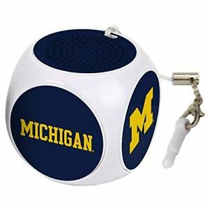 AudioSpice NCAA Michigan Wolverines MX-100 Cubio Mini Bluetooth Speaker, White,