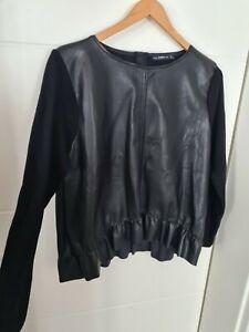 Zara Knit Kunstleder Pullover Sweatshirt Top gr L 42 Ca.