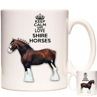 KEEP CALM AND LOVE SHIRE HORSES MUG Can Be Personalised DIshwasher Safe