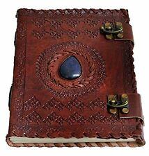 JSK43 Handmade Paper 6x8 Embossed Leather Center Stone Journal with Two Brass