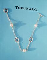 Tiffany & Co Argento Sterling 3 Tre Cuscino & Perle Alternare Bracciale 18.4cm
