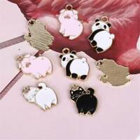 10Pcs Enamel Alloy Pig Cat Panda Charms Pendants For Jewelry Making Crafts DIY