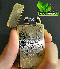 Gold Dragon Electric Dual Arc USB Rechargeable Flameless Windproof Lighter 2PCS