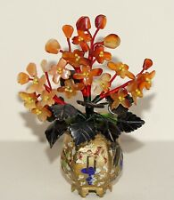 Old Item~Carnelian Agate & Spinach~Jade Tree~Gold Gilt Champleve Cloisonne Base