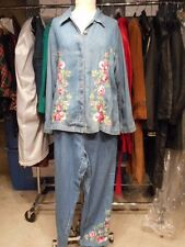 Studio West-Denim Embroidered Pant Suit-Xl-Lib5
