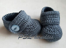 Hand knitted crochet baby booties gray 5 US size wool acrylic girls boys