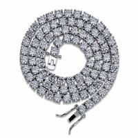 """25Ct Round Diamond Mens Tennis Necklace 14k White Gold Over 925 Silver 18"""""""