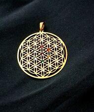 Anhänger Blume des Lebens Edelstahl 24 K vergoldet Swarovski® 7 Chakren Chakra
