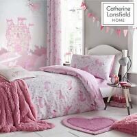 Catherine Lansfield Folk Unicorn Pink Duvet Set Reversible Bedding Curtain Sheet