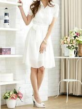 Collared Chiffon Patternless Shirt Dresses