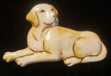 Beautiful Ceramic Yellow Labrador Retriever Dog Brooch