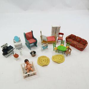 Lot of 18+ Vintage 1980 Mattel The Littles Dollhouse Metal Furniture & Doll