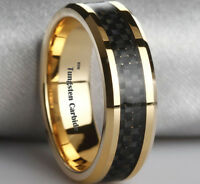 New Boxed Gold Tone Mens Black Carbon Inlay Tungsten Wedding Ring - Post From UK