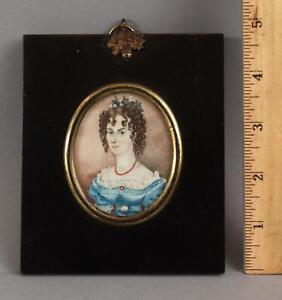 19thC Antique Miniature Folk Art Portrait Painting Young Woman & Coral Jewelry