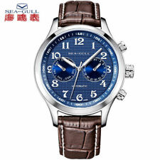 Seagull Date Dual Time Zone Guilloche Arabic Numerals Blue Dial Automatic Watch