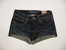 Womens NEW AE American Eagle Denim Rolled Shortie Stretch Jean Shorts Sz 8 NWT!