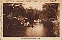 BOATING SCENE NEAR CHATTANOOGA TENNESSEE 1914 PSTMK POSTCARD