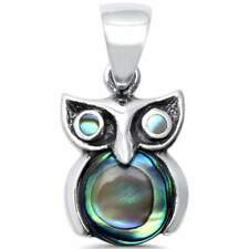 Trendy! Abalone Owl .925 Sterling Silver Charm Pendant