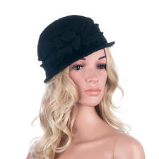 Womens 1920s Solid Color Flower Wool Warm Winter Beanie Hat Cap A281