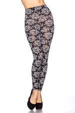 Leggins Leggings Legging Floralem Ornament  Muster Schwarz Weiß  34 36 38