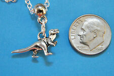 "DINOSAUR Necklace Tibet Silver T-Rex Charm Choker KIDS Size 17"" Silver Chain NEW"