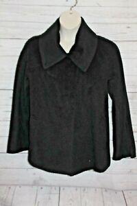 Hilary Radley Women's Alpaca Coat Black Winter Coat Soft Woold Blend Button Up