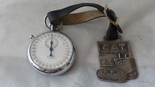 Vintage Swiss Edge 7 Jewels Stopwatch With Cat Track-Type Tractor Watch Fob
