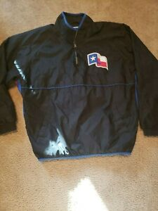 Men Texas Rangers Authentic Majestic Pull Over Half-Zip Black SiZe XL EUC!!!