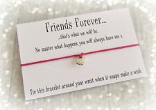 Friends Forever Heart Charm Wish Friendship Bracelet Gift & Envelope Hot Pink