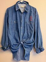 Disney Parks WDW Womens Long Sleeve Button Up Denim Embroidered Mickey Shirt XL