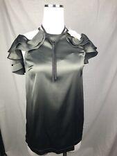 $1675 New Brunello Cucinelli Womens Green Shirt Top W/ Monili Silk Size Xs 38 2