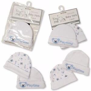 Premature Baby Boys Hat By Tiny Me 2 Pk Blue White Tiny Baby Prem 100% cotton