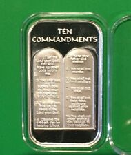 Ten Commandments Religious Holy Collectible Bar 1 Troy Oz .999 Fine Silver Ingot