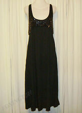 BEAUTIFUL SASS&BIDE VIE BLACK COTTON BLACK JEWELLED MAXI DRESS US 4 AUS 10/12