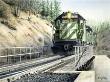 """Burlington Northern"" Don Feight Railroad Giclee Print - Feather River Canyon"