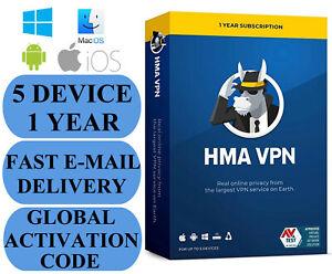 HMA VPN 5 DEVICE / 1 YEAR (HideMyAss) GLOBAL CODE 2021 E-MAIL Authorized Seller