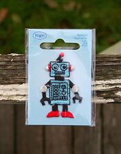 "Robot Applique Embroidered Patch 2"" Tall Computer Blue Sparkly Red Shoes Antenna"