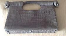 NANCY GONZALEZ Grey Crocodile Clutch Bag w/ Handle Knotted Ends $1795.