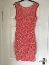 Ladies Dress ( Lipsy ) orange , lace & sequins , size 14 , excellent condition.